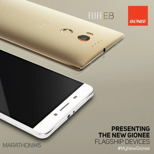 Gionee announces Elife E8 with 6″ QHD and 24MP camera, and Marathon M5 with dual batteries totaling 6,020mAh