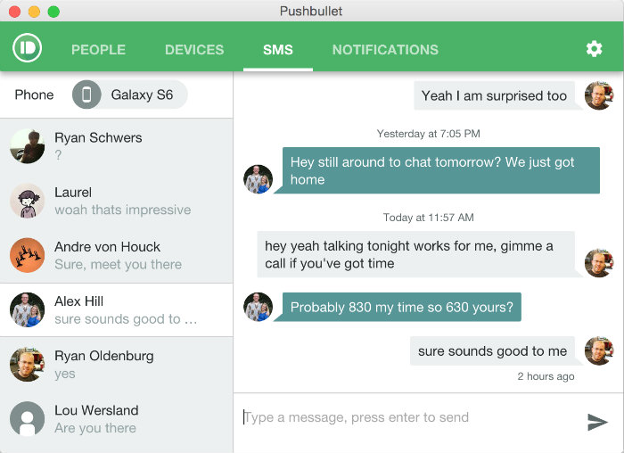 Pushbullet Update SMS Conversations