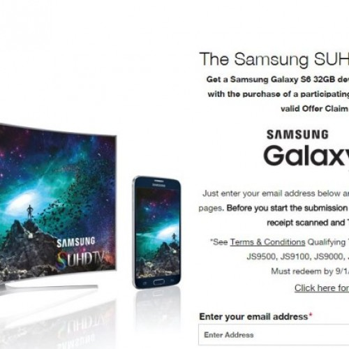 Samsung Galaxy S6 free with purchase of a Samsung SUHD TV