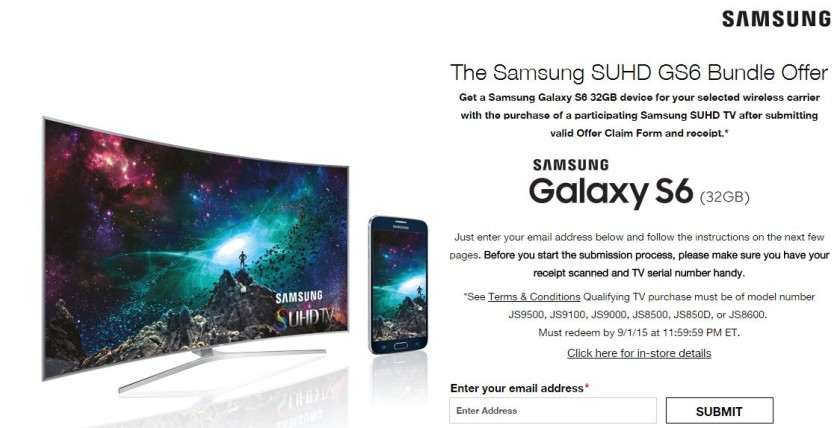Samsung's 4K TV and Galaxy S6 offer