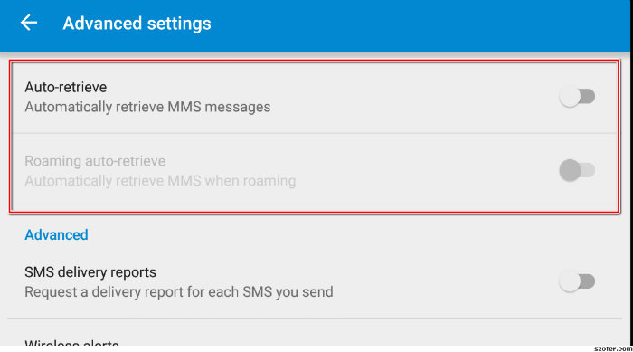 Disable MMS Auto-Retrieval