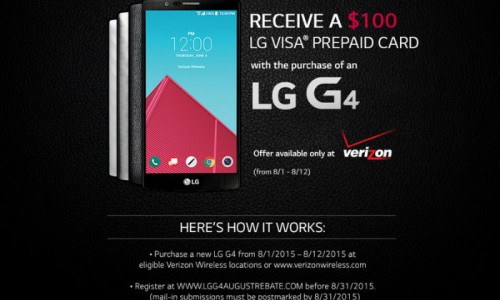 Get a $100 prepaid gift card with your new Verizon LG G4