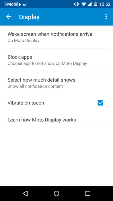 Moto G Moto App Display