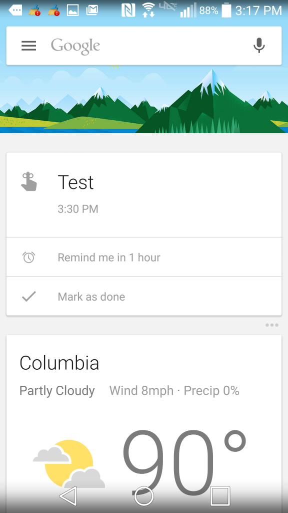 An example of a reminder in Google Now