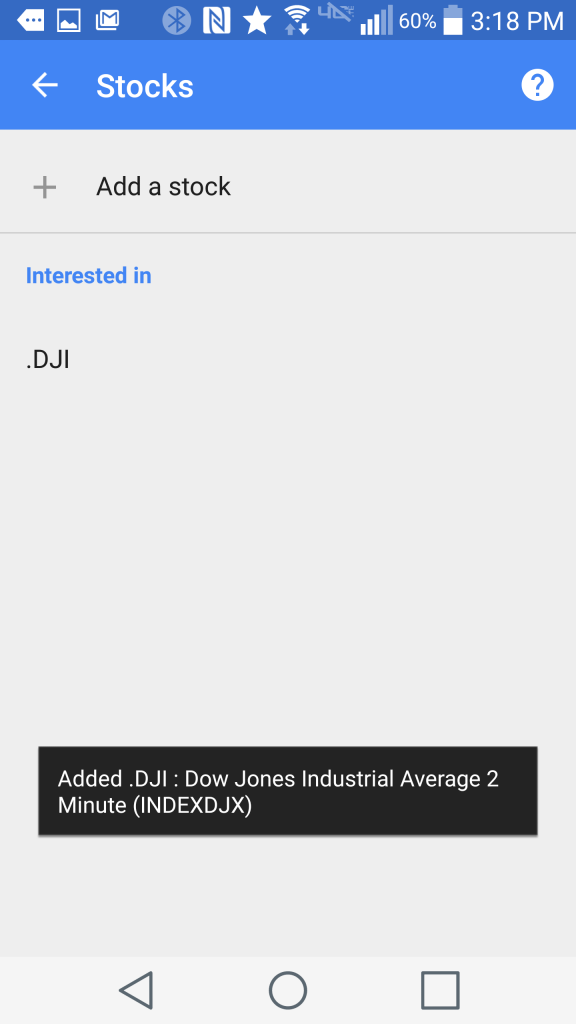 Adding a stock to Google Now