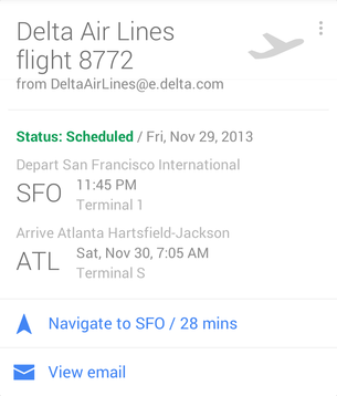 A Flights Google Now card