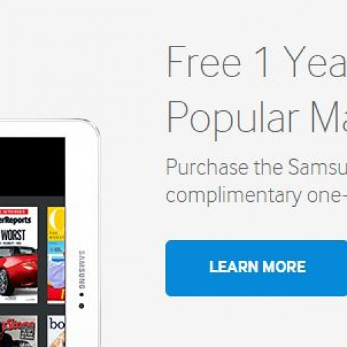 Get 160 free magazines for a year free with the purchase of a Samsung Galaxy Tab 2