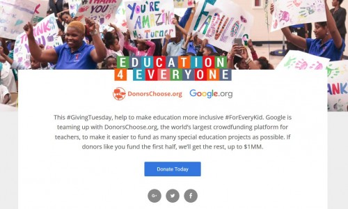 Google is matching up to $1MM for donations to DonorsChoose.org (students in need) #ForEveryKid