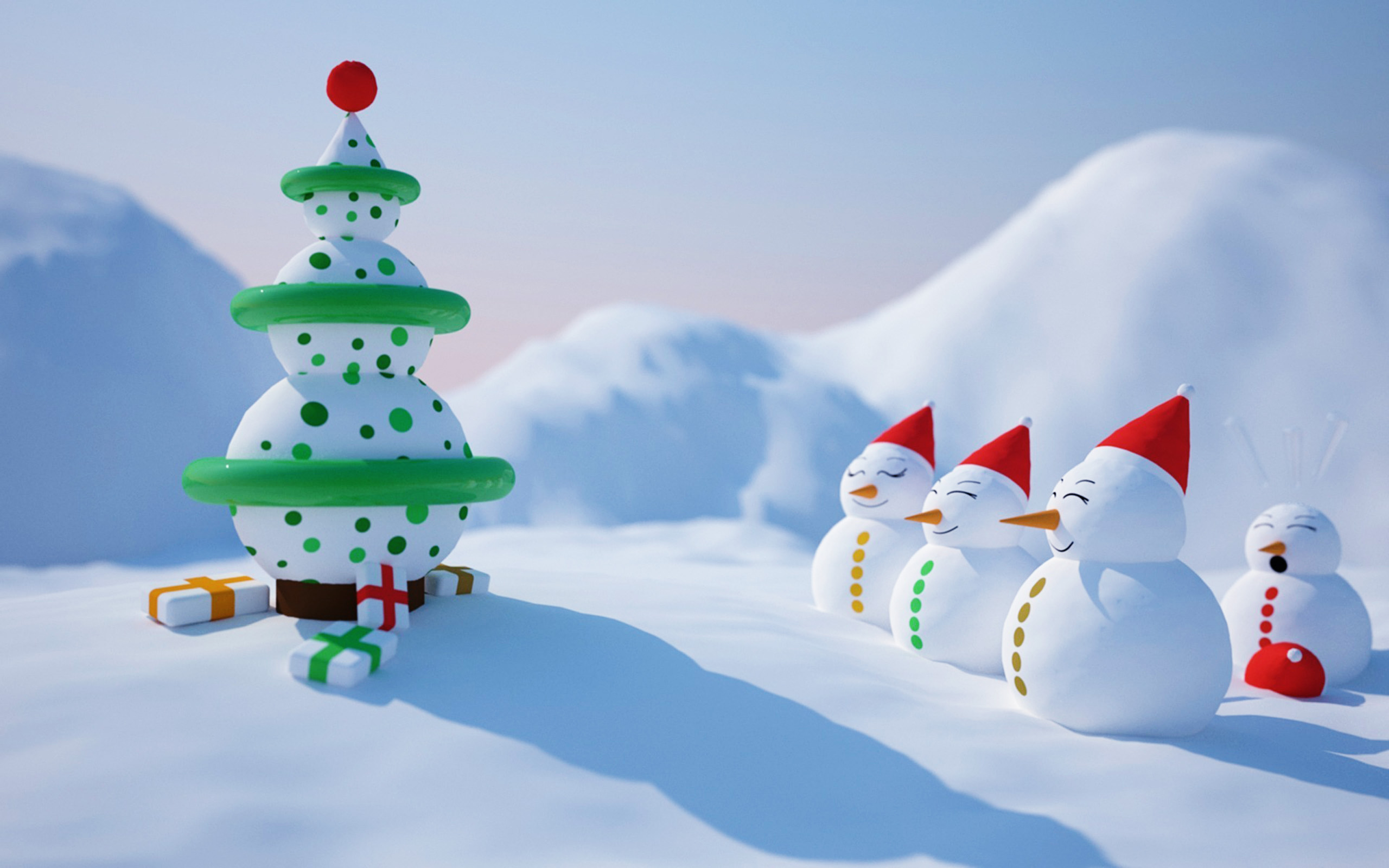 Snowmen-And-Snowtree-Funny-Christmas-Animated-Wallpaper