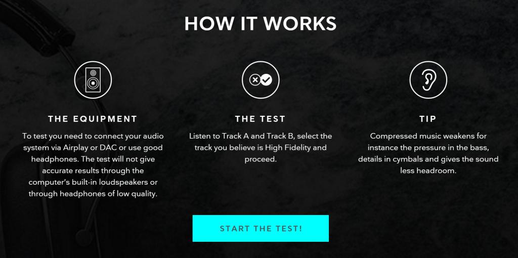 TIDAL HiFi audio equipment test