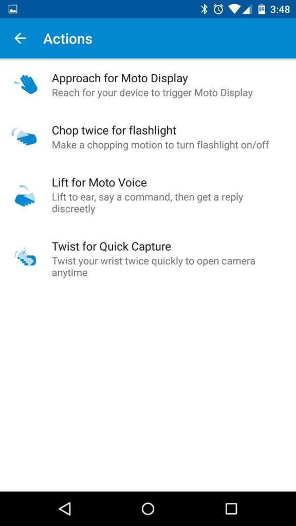 Motorola gestures