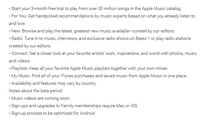 Apple Music description from the Google Play Store