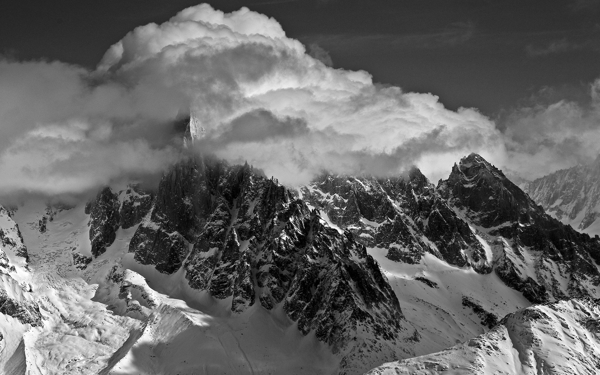Nature landscapes mountains monochrome black white sky clouds
