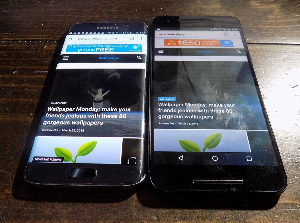 Galaxy S7 vs. Nexus 6P 100% brightness