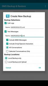SMS backup and restore screenshot
