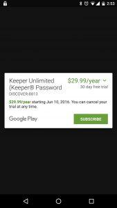Keeper Subscription Screen