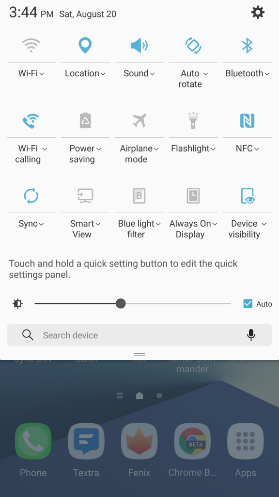 Samsung Galaxy Note 7 Quick Toggles