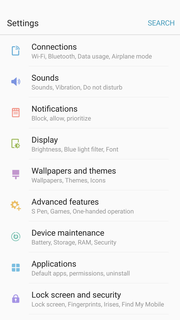 touchwiz settings