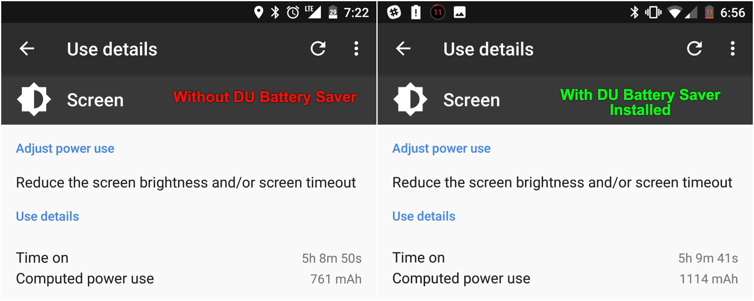 This is a screenshot from the second day I had DU Battery Saver installed on my Pixel XL. Note the similarity in Screen on Time and difference in remaining battery life