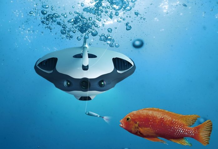 This underwater drone uses a sonar to detect fish and for Best drone for fishing