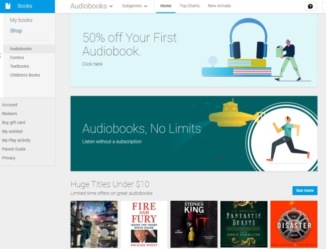 Google now offers audiobooks in the Play Store (get 50% off your