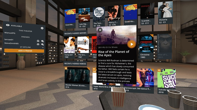 You can now watch Plex in VR with Google Daydream