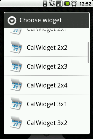 Shows available CalWidget sizes
