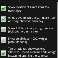 Options available in CalWidget