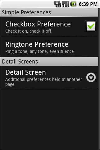 A preferences UI showing categories and the launch-point for a secondary screen