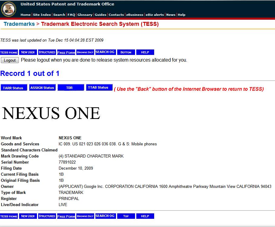 Google Patents Nexus One
