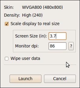 Android Emulator Launch Window
