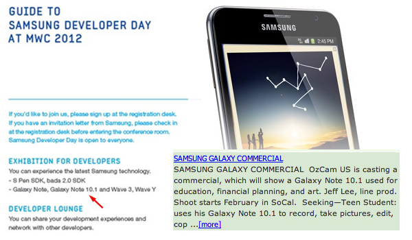 Is Samsung to unveil Galaxy Note 10 1 at Mobile World Congress?