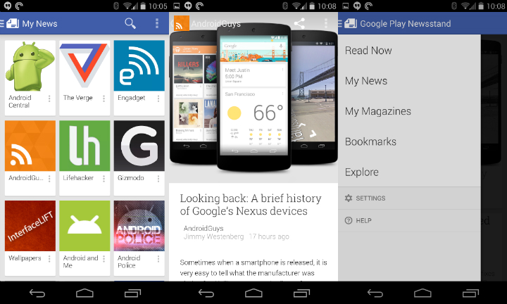 Google Play Newsstand collage