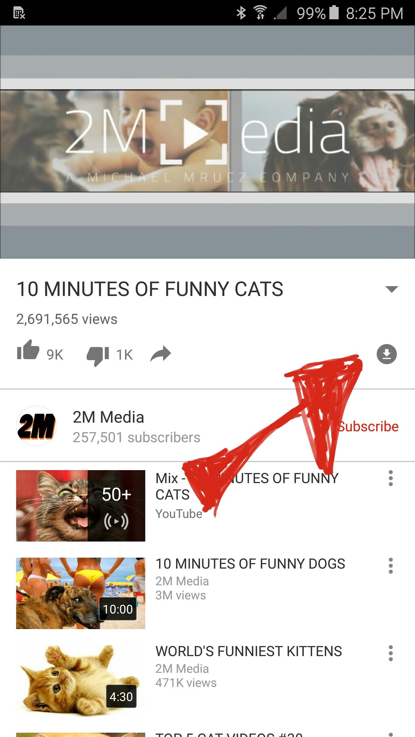 Click the arrow to download video for offline watching.