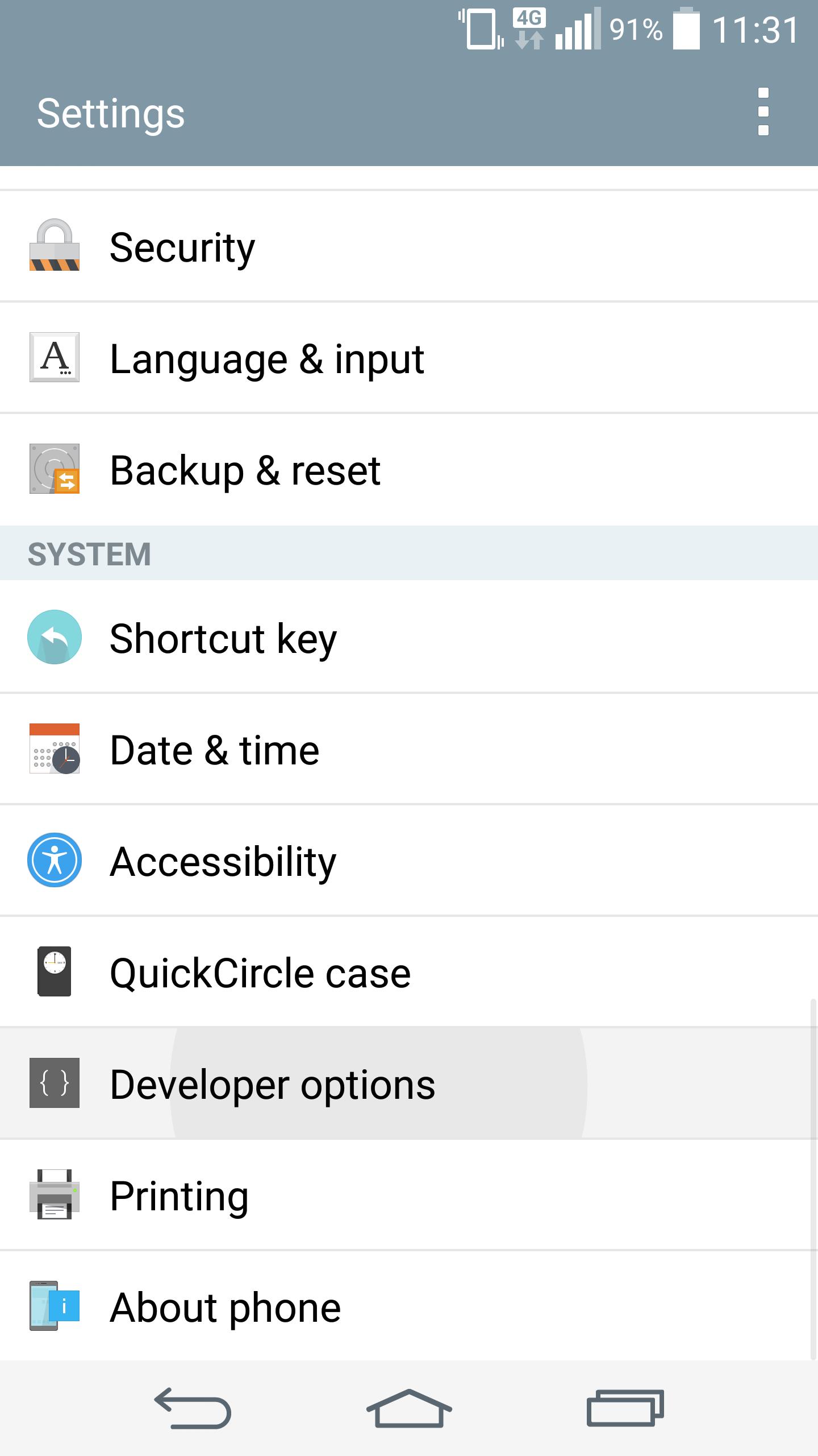 LG G3 Lollipop settings page