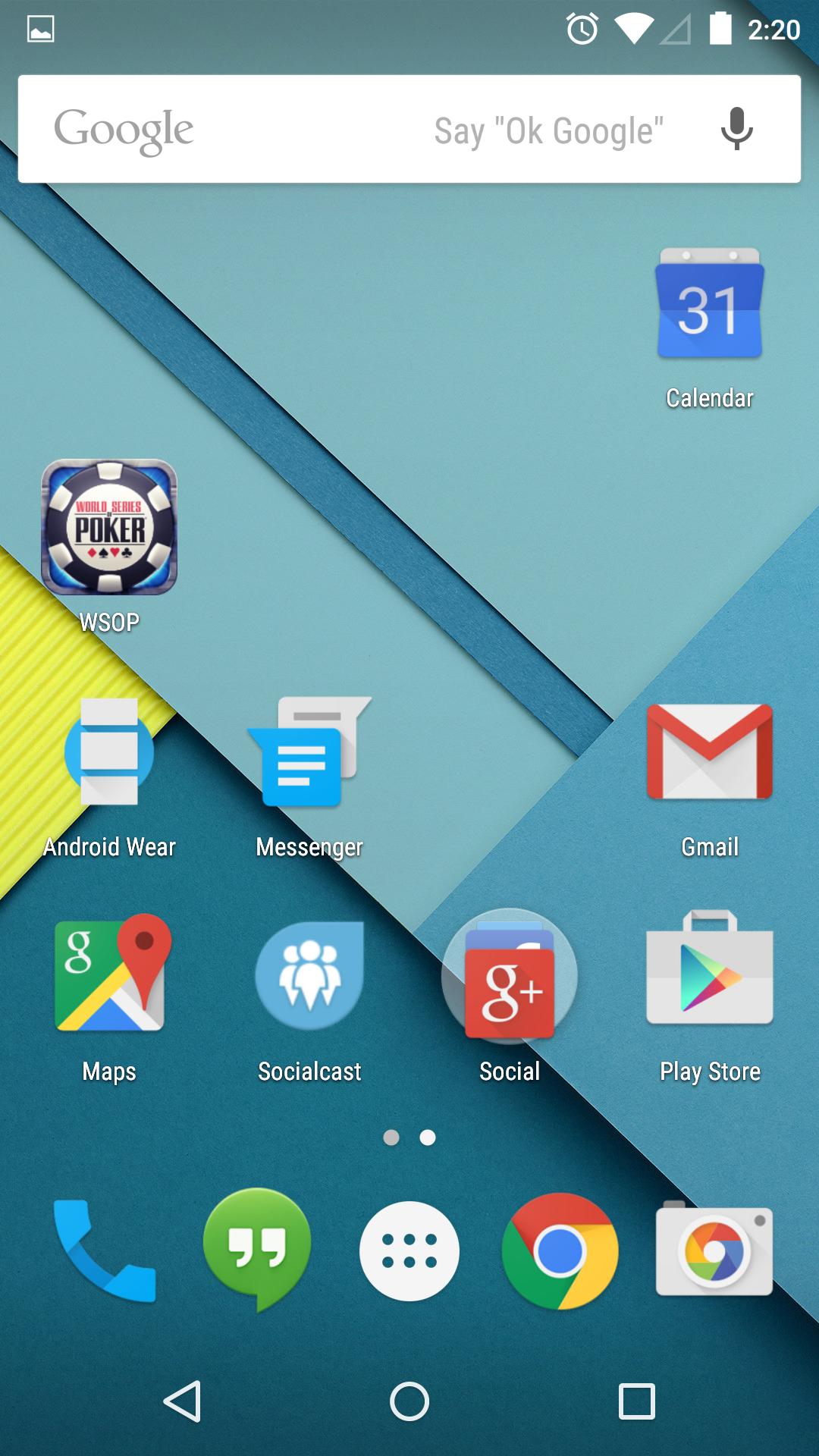 Stock Android Lollipop homescreen