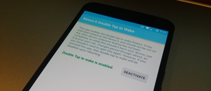 Nexus 6 tap to wake