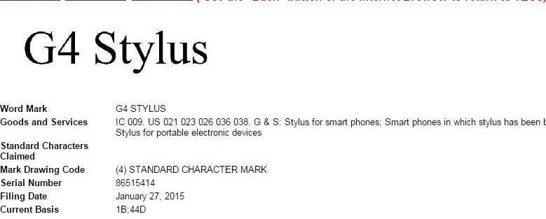 LG G4 Stylus Trademark Filing
