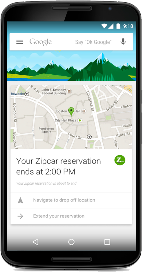 Google Now Card of Zipcar
