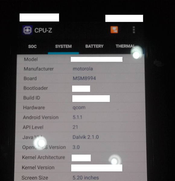 A supposed leaked spec sheet of the Moto X (2015)