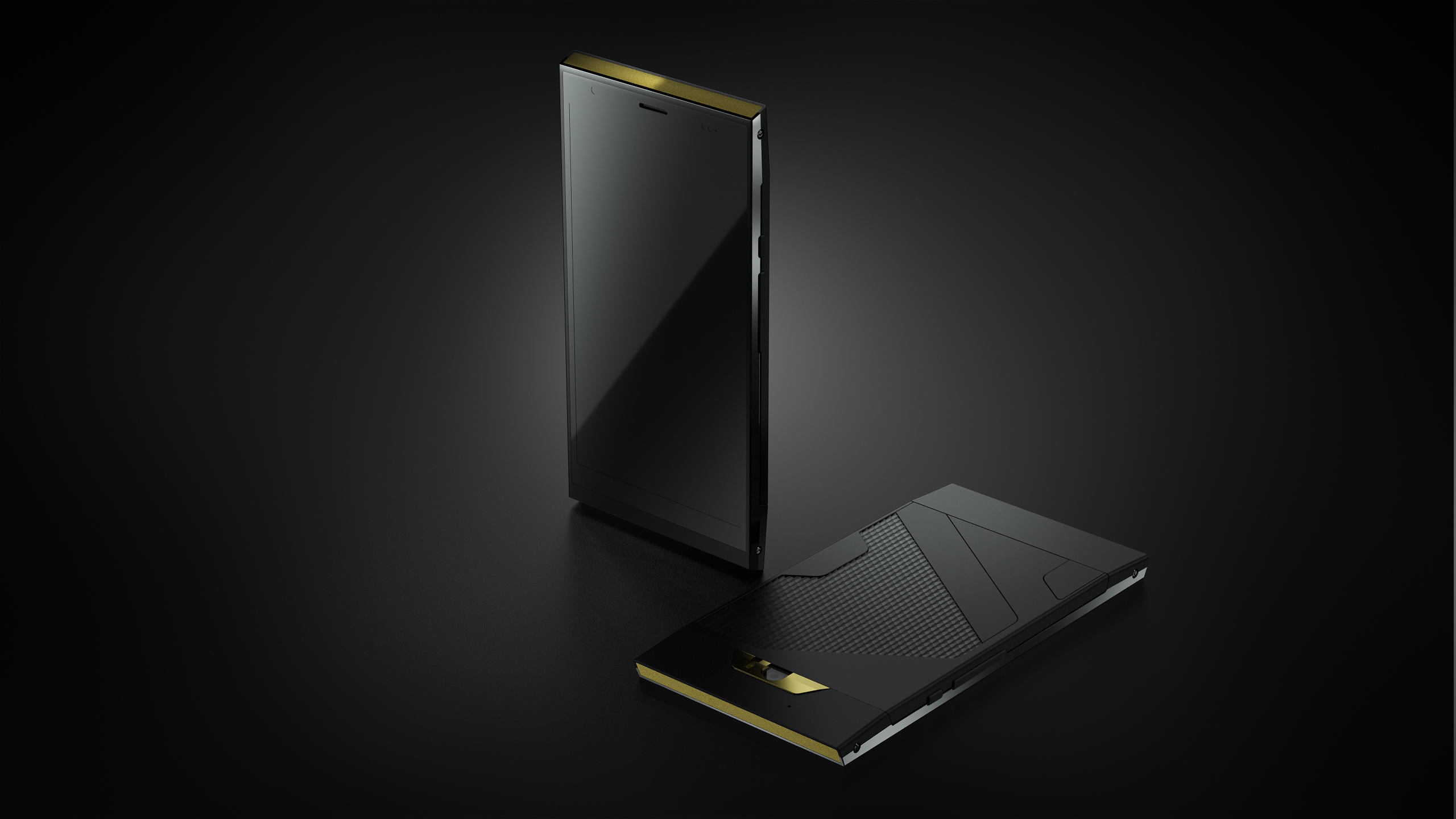 The Turing Phone Dark Wyvern Edition's Front and Back