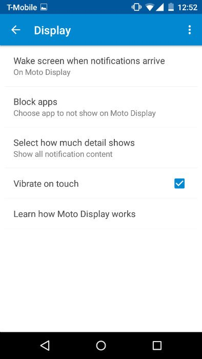 Moto G Moto App Display