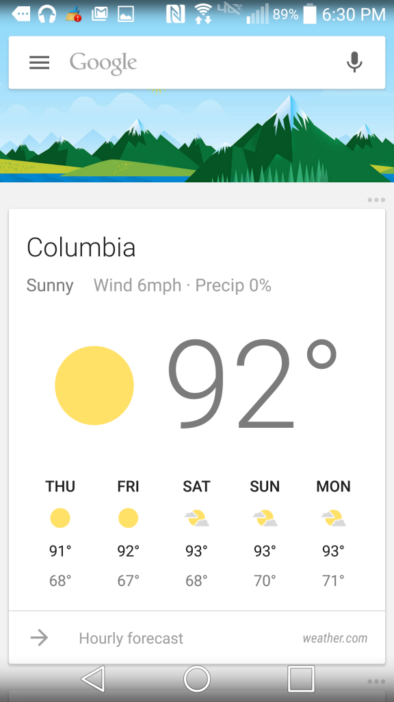 Google Now's main screen