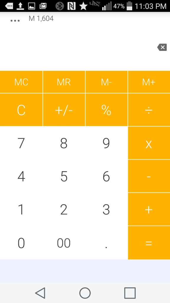 The Material - Amber theme of Daily Calculator Free