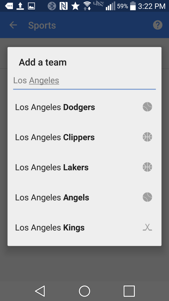 Adding a sports team to Google Now