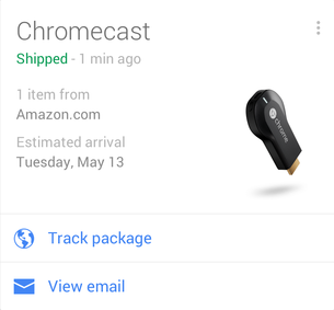 A Google Now Card of a package