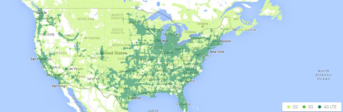 Project Fi coverage map