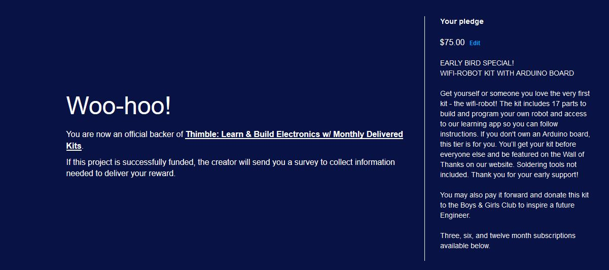 I put my money where my mouth is by supporting Thimble. This kit will be donated to the Boys & Girls Club.
