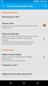 Screen Stream Mirroring's settings