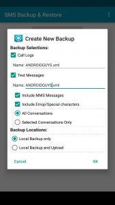 SMS backup and restore screenshot